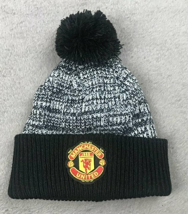 Зимова шапка Манчестер Юнайтенд чорно-сіра