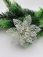 Новогоднее украшение. Пуансетия новогодняя серебро., фото 2