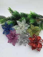 Новогоднее украшение. Пуансетия новогодняя серебро., фото 3