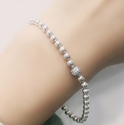 Серебряный браслет мягкого плетения Сферы