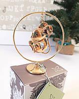 """Позолоченная статуэтка Crystocraft со стразами Swarovski """"Крыса"""" в кольце. Мышка символ 2020года"""