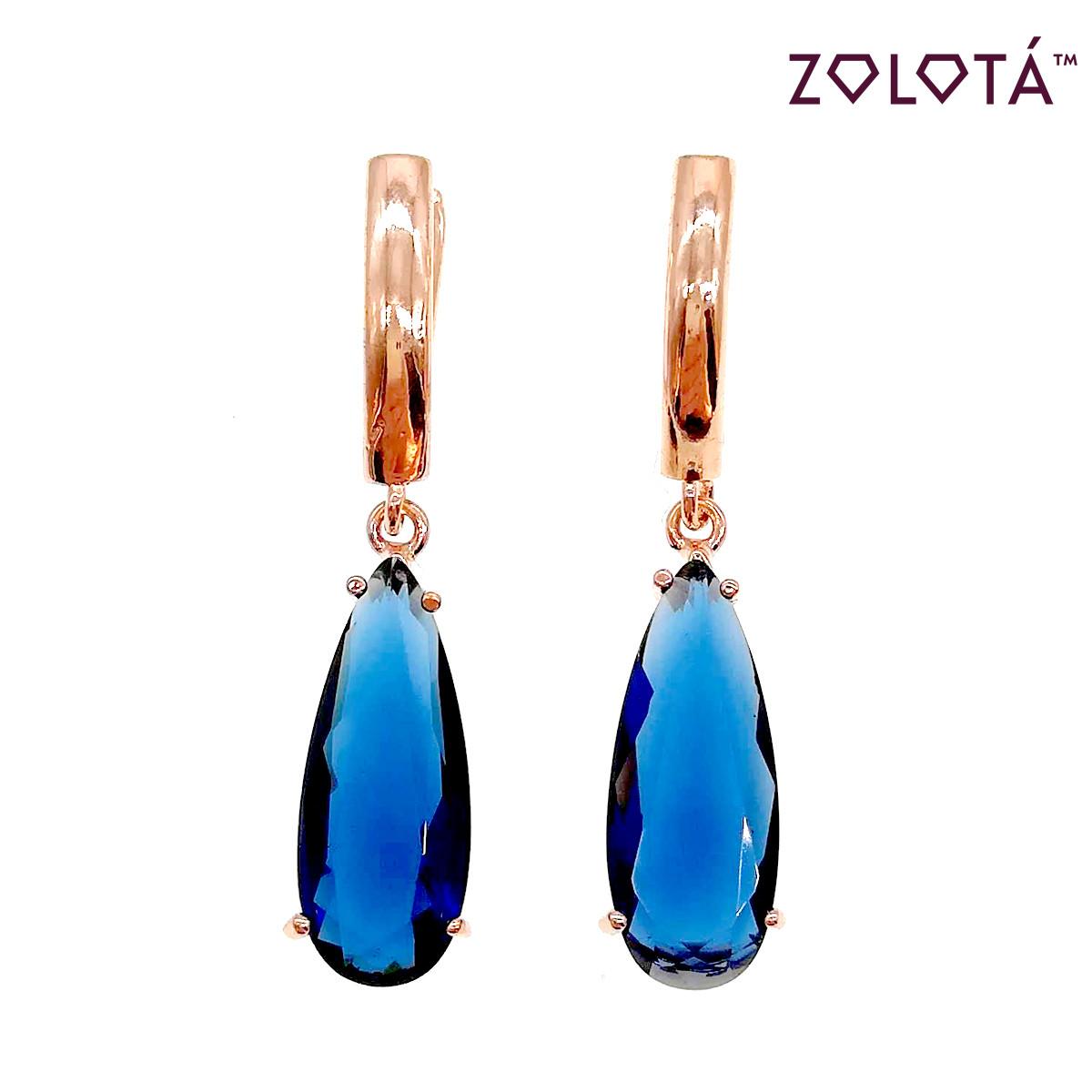 Серьги Zolota с темно-синими фианитами (куб. цирконием), из медицинского золота, в позолоте, СР00002 (1)