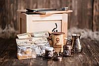 """Ящик 4MAN """"Турецкий кофеман"""". Мужской подарочный набор кофе с туркой. Подарок кофеману. Подарок любителю кофе"""