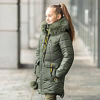 Зимнее пальто для девочки Мирра, с натур. опушкой, размеры 32 - 46