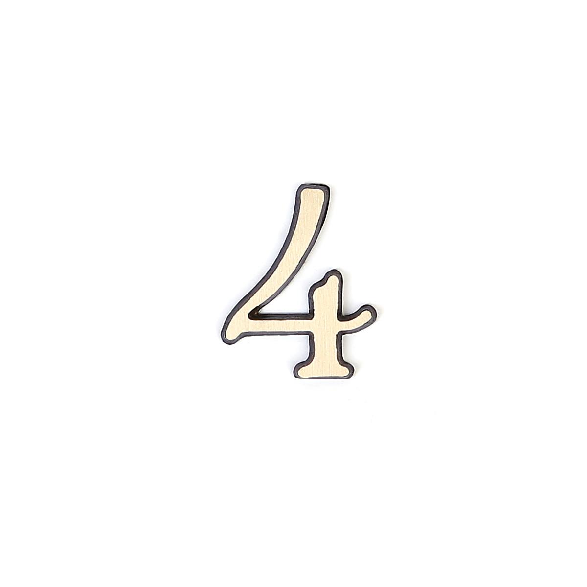 Номер из латуни на дверь Larvij цифра 4 антик бронза (LNB5 AB#4)