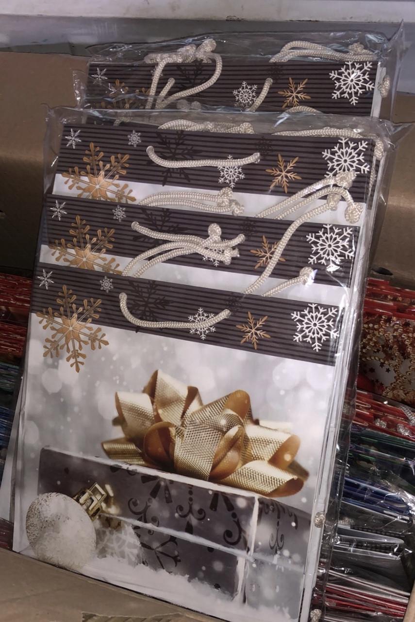 Новогодний подарочный пакет Подарок КВАДРАТ 23*24*10 см