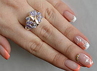Серебряное кольцо Sil с золотыми вставками Аметист Sil-124, КОД: 1137718