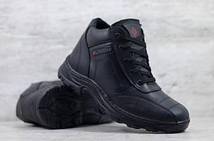 Мужские зимние кожаные ботинки Columbia черные (реплика)