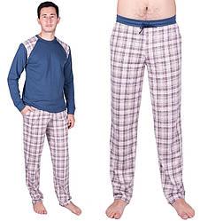 Пижама мужская трикотажная домашняя длинный рукав синяя Украина