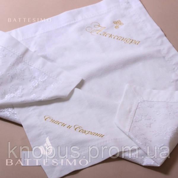 Крыжма из ворсистого хлопка, лицевая сторона - гипюр  белая/молочная/бледно-розовая, MIMINO BABY