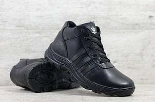 Мужские зимние кожаные ботинки Adidas черные (реплика)