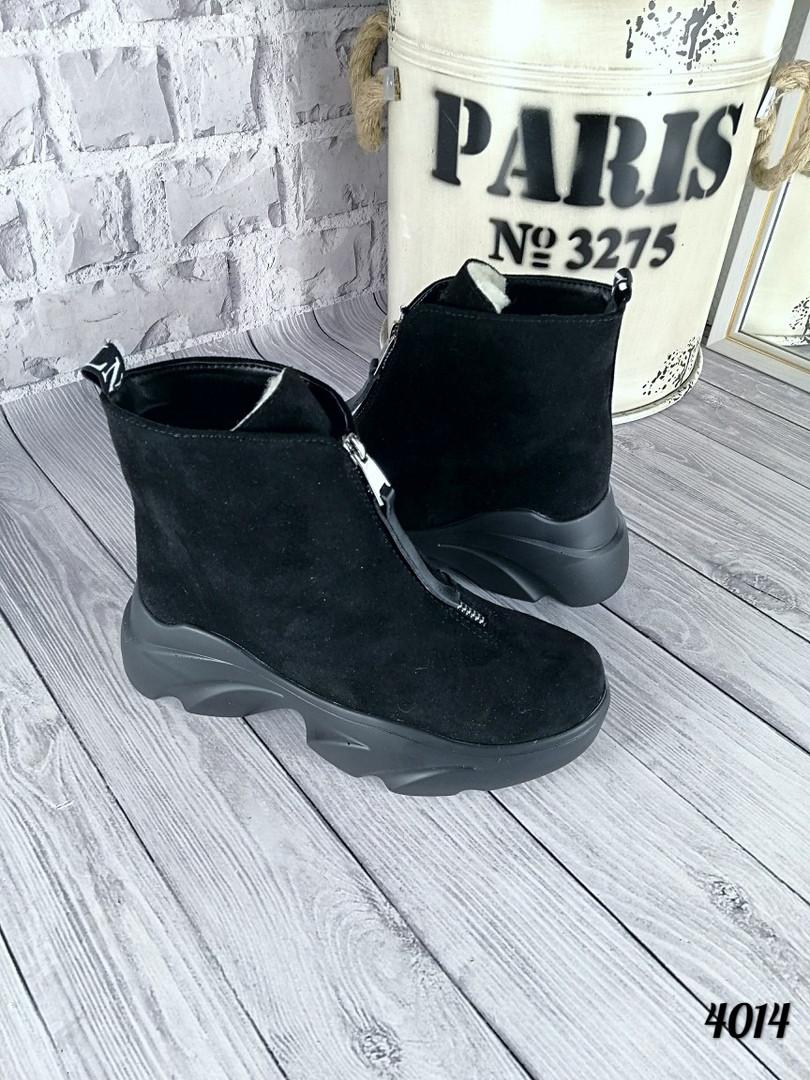 Женские зимние черные ботинки, из натуральной замши 38 40 ПОСЛЕДНИЕ РАЗМЕРЫ