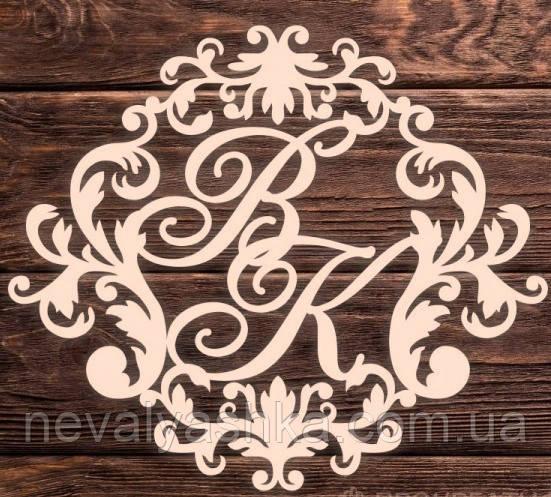 Фамильный Герб 60х50см Свадебные Инициалы из дерева, деревянная монограмма, семейный герб на свадьбу инициалы