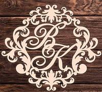 Фамильный Герб 60х50см Свадебные Инициалы из дерева, деревянная монограмма, семейный герб на свадьбу инициалы, фото 1