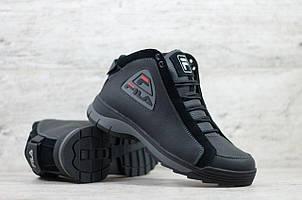 Мужские зимние кожаные ботинки FILA черные (реплика)