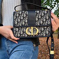 Женская сумка Christian Dior 30 MONTAIGNE текстиль+натуральная кожа (реплика - LUX) - 5846