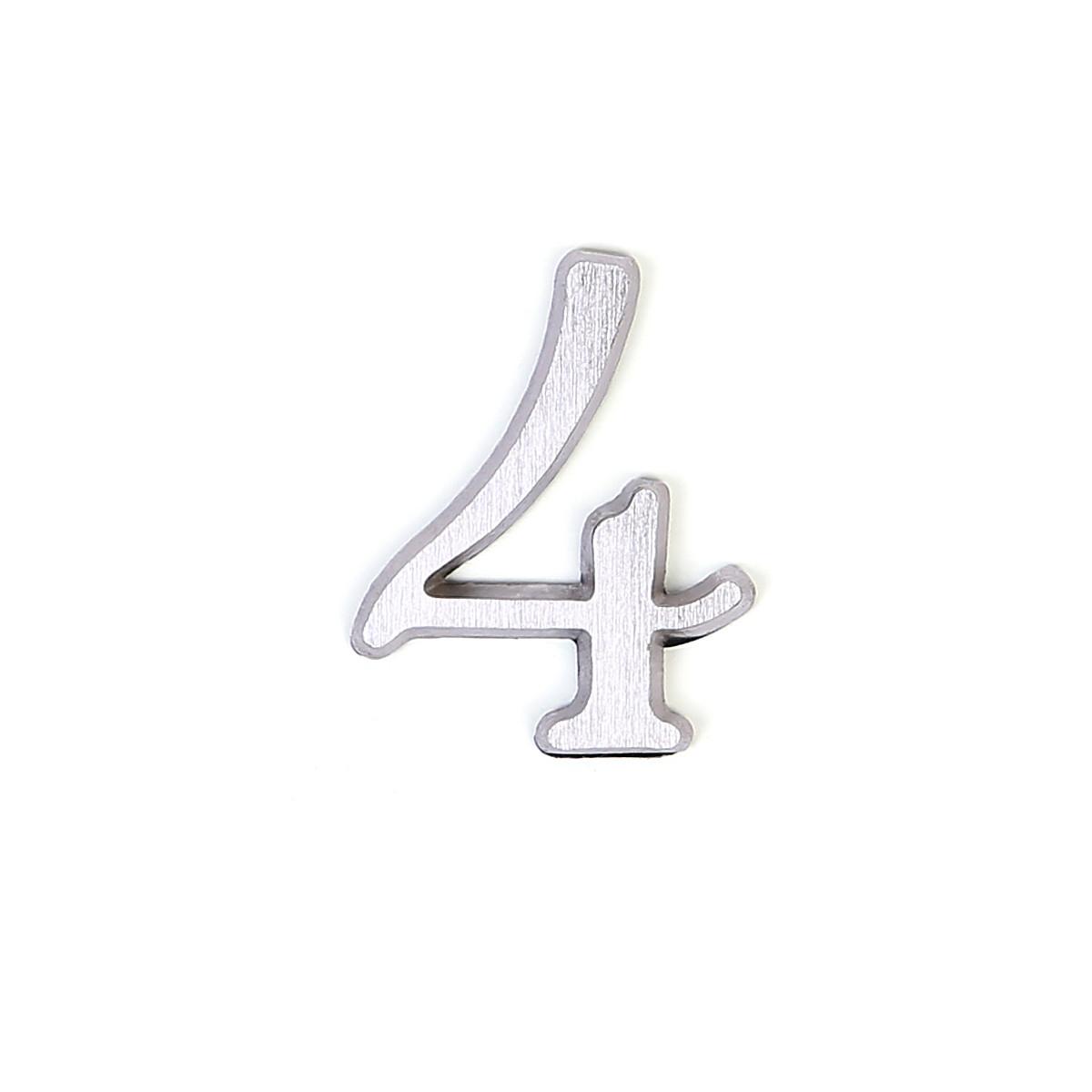 Номер из латуни на дверь Larvij цифра 4 никель (LNB5 BLN#4)