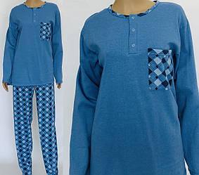 Теплая мужская пижама с начесом хлопковым трикотажная домашняя длинный рукав (Украина)