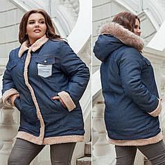 Куртка  БАТАЛ джинс теплая в расцветках 712713Р