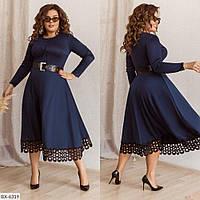 """Элегантное платье большого размера с широкой юбкой, декорированое ажурным кружевом с 48го по 58 размер """"Эмма"""""""
