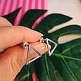 Серебряные серьги-гвоздики Треугольнички - Серьги пуссеты в стиле минимализм, фото 5