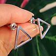 Серебряные серьги-гвоздики Треугольнички - Серьги пуссеты в стиле минимализм, фото 2