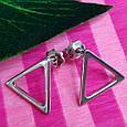 Серебряные серьги-гвоздики Треугольнички - Серьги пуссеты в стиле минимализм, фото 6