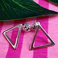 Серебряные серьги-гвоздики Треугольнички - Серьги пуссеты в стиле минимализм, фото 4
