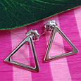 Серебряные серьги-гвоздики Треугольнички - Серьги пуссеты в стиле минимализм, фото 3