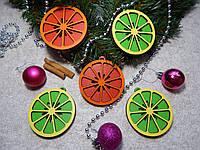 """Новогоднее украшение, деревянная ёлочная игрушка """"Цитрус"""""""