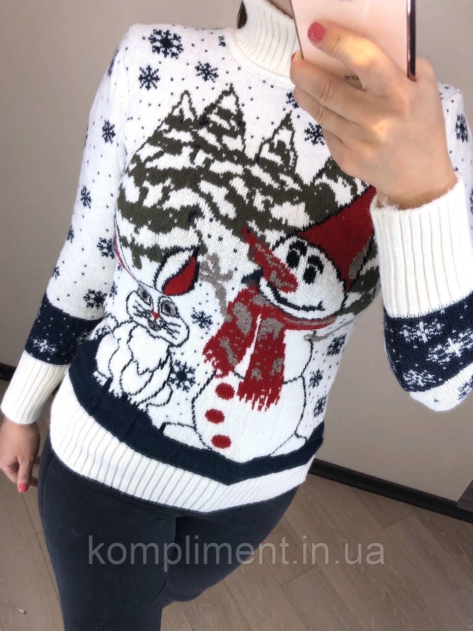 Шерстяной турецкий вязаный свитер с рисунком снеговик, белый
