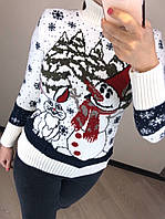 Шерстяной турецкий вязаный свитер с рисунком снеговик, белый, фото 1