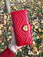 Шкіряний жіночий клатч-гаманець Gucci / Жіночий клатч з натуральної шкіри, колір червоний