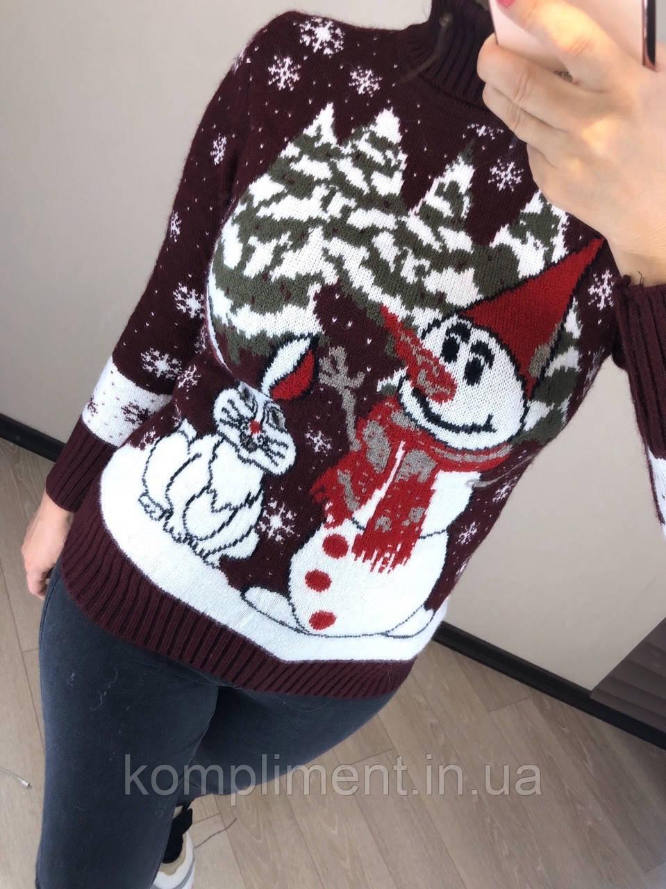 Шерстяной турецкий вязаный свитер с рисунком снеговик, бордовый