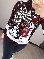 Вовняний турецький в'язаний светр з малюнком сніговик, бордовий, фото 1