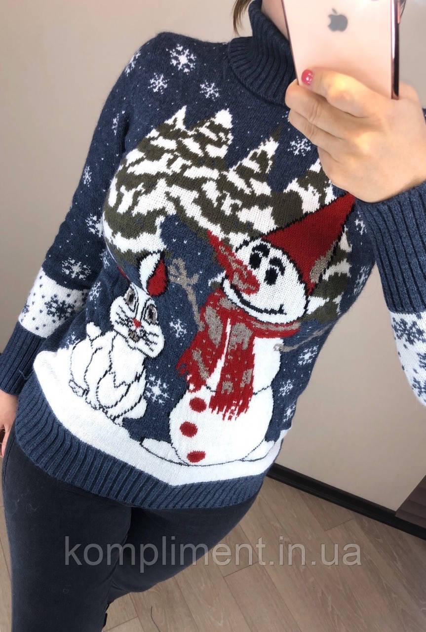 Шерстяной турецкий вязаный свитер с рисунком снеговик, джинс