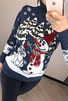 Шерстяной турецкий вязаный свитер с рисунком снеговик, джинс, фото 1