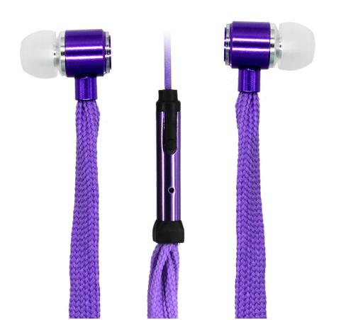 Наушники шнурки с микрофоном фиолетовые