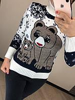 Шерстяной турецкий вязаный свитер с рисунком медведи, белый, фото 1