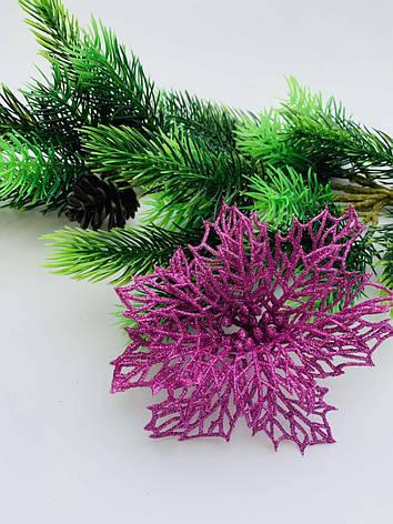 Новогодний декор.Пуансеттия новогодняя розовая(12 ), фото 2