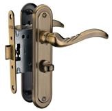 MVM Набор дверных ручок на планке старая бронза + замок wc 47,5