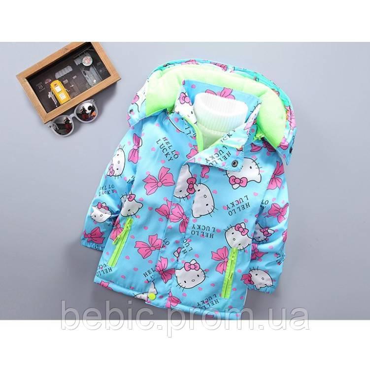Куртка для девочки еврозима Hello Lucky голубая на флисе Рост:120-130 см
