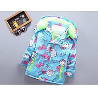 Куртка для девочки еврозима Hello Lucky голубая на флисе Рост:120-130 см, фото 1