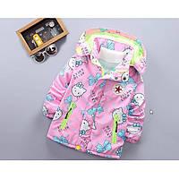 Куртка для девочки еврозима Hello Lucky розовая на флисе Рост:110-120 см, фото 1