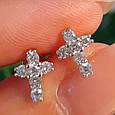 Серебряные серьги-гвоздики Крестики с фианитами, фото 4