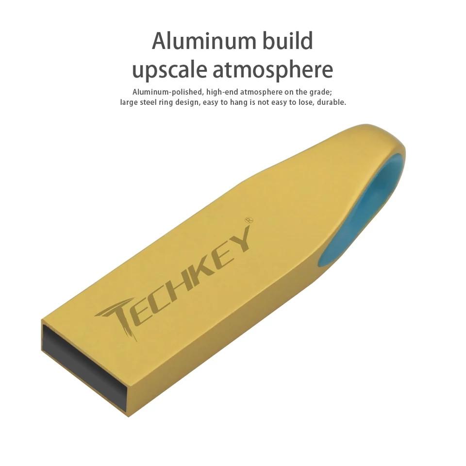 USB флеш накопичувач TECHKEY 64Гб. Корпус метал. Золотий колір