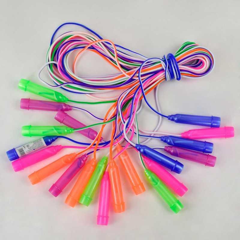Скакалка Цветная 10шт в связке, длина 250см, толщина 4,4мм - 186265