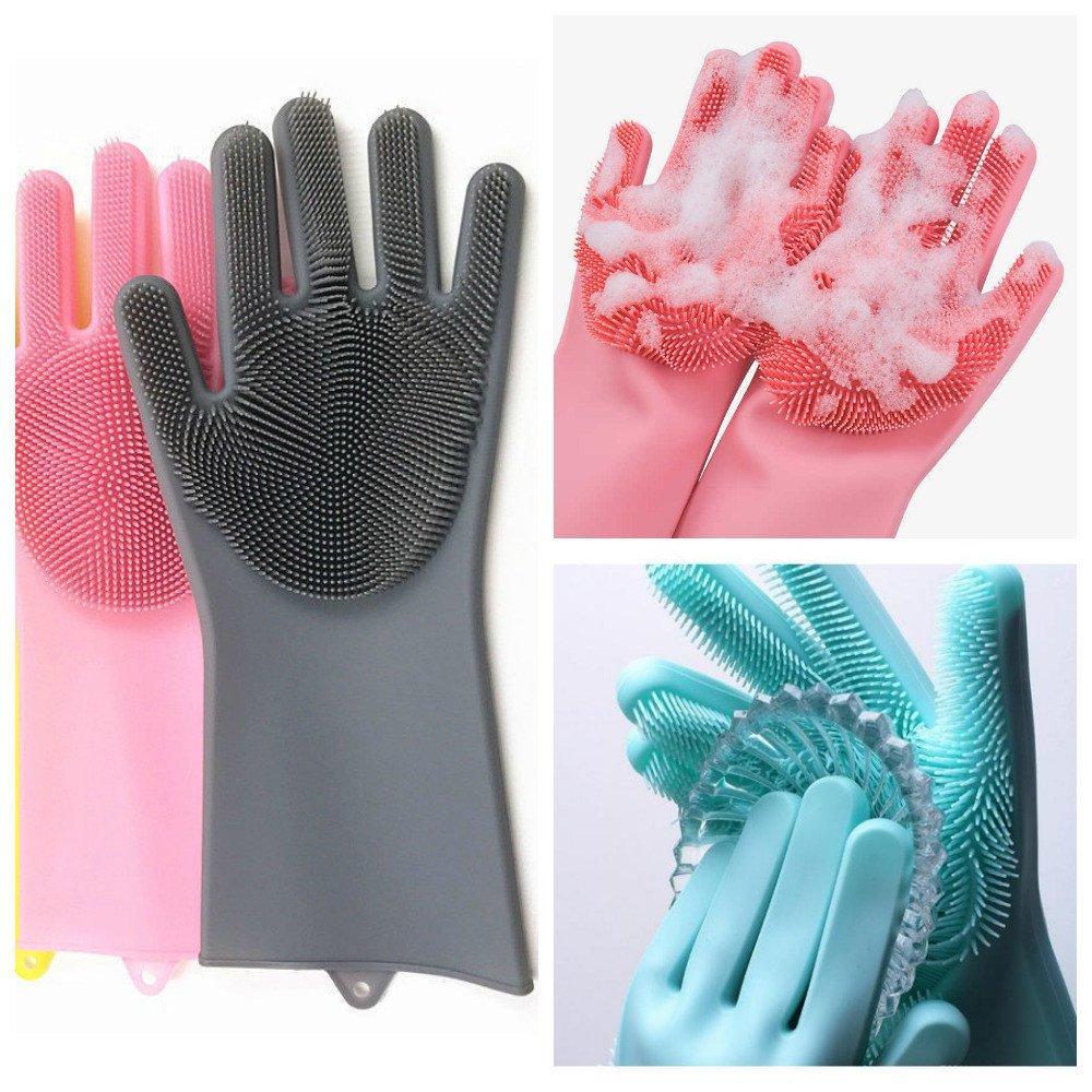 Перчатки для мытья посуды с щеткой KITCHEN GLOVES (5511)