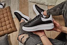 Женские кроссовки Alexander McQueen Leather Show Sneakers Black White ( Реплика )