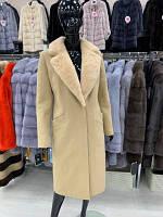 Пальто из кашемира с отделкой норкой Бидейн